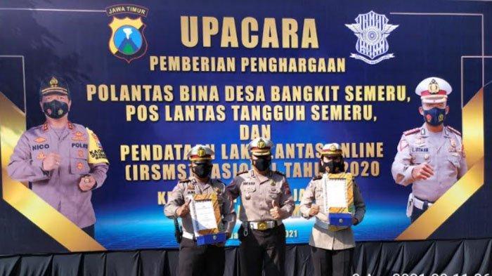 Satlantas Polres Madiun Juara Satu Pos Lantas Tangguh Semeru dan Polantas Bina Desa Bangkit Semeru
