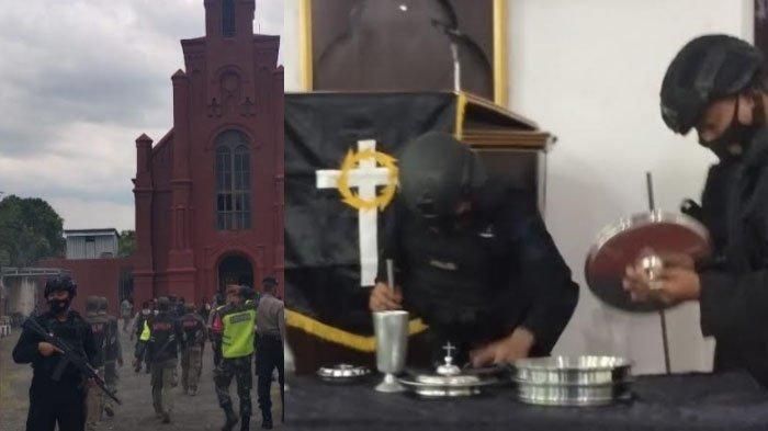 Jelang Perayaan Paskah, Pasukan Brimob Sterilisasi Sejumlah Gereja di Kota Kediri