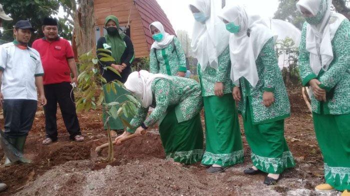 Dukungan Fatayat NU Kabupaten Jombang untuk Agropolis, Tanam Bibit Durian Unggul di Wonosalam