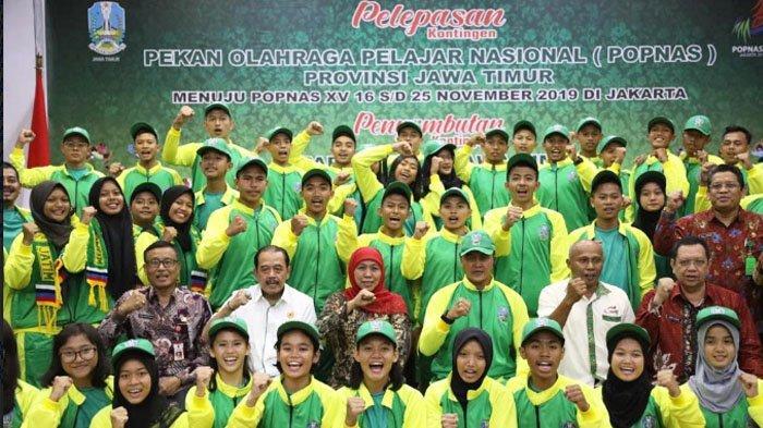 Khofifah Lepas 198 Atlet ke Popnas di Jakarta, Turun di 13 Cabot, Jatim Target Juara Umum