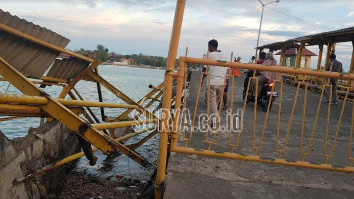Tiangnya Lapuk, Pagar Pembatas Dermaga Pelabuhan Kalianget Sumenep Roboh