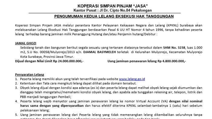 Pengumuman Kedua Lelang Eksekusi Hak Tanggungan Tanah dan Bangunan di Kecamatan Mulyorejo Surabaya