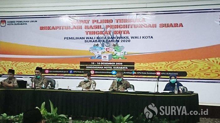 KPU Targetkan Rekap Suara Pilwali Surabaya Rampung dalam Dua Hari, Rapat Pleno Diwarnai Skorsing