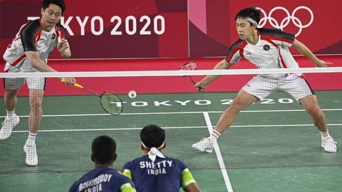 Marcus Fernaldi Gideon/Kevin Sanjaya Sukamuljo saat tampil di Olimpiade Tokyo 2020