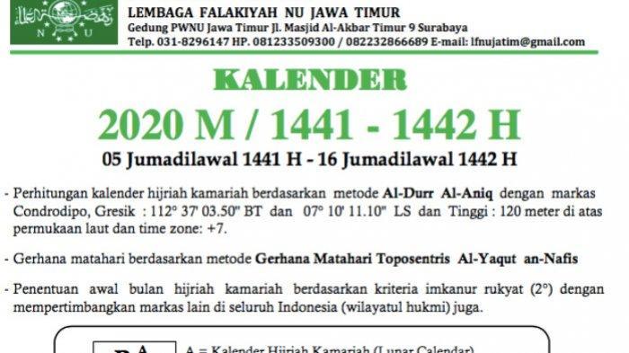 Link Download Kalender Nahdlatul Ulama (NU) Tahun 2020 Masehi dan 1441 - 1442 Hijriyah