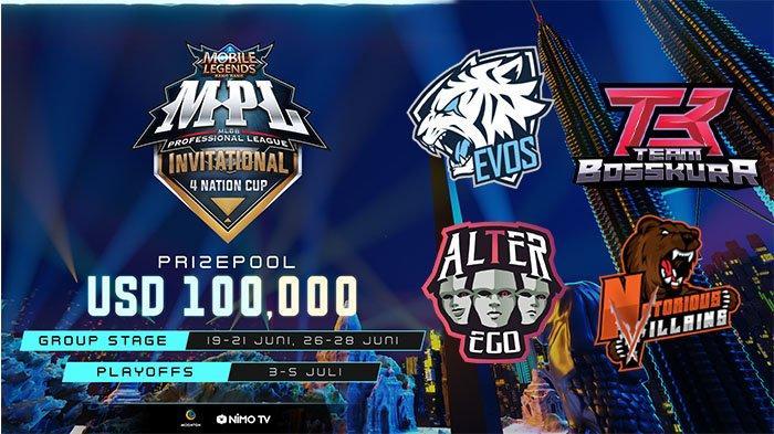 Link Live Streaming MPL Invitational 4 Nation Cup, Sabtu 27 Juni: Alter Ego vs Evos Jam 17.00 WIB