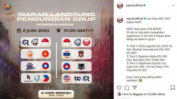 Link Live Streaming MSC 2021: Drawing Grup Mulai Jam 17.00 WIB, Siapa Bakal Jadi Lawan EVOS & BTR?