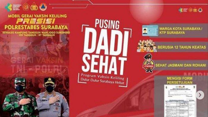 Lokasi Vaksin Covid-19 di Surabaya Hari ini Senin 26 Juli: Ada Vaksinasi Keliling dari Polrestabes
