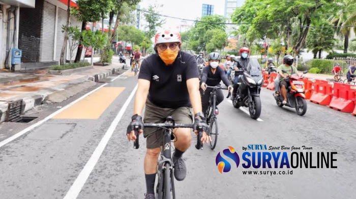 Awali Masa Tenang Pilwali Surabaya 2020, Machfud Arifin Rileks Bersepeda Pagi