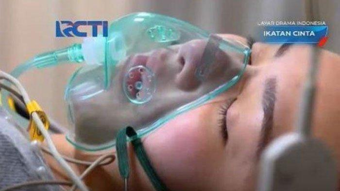 Adegan Amanda Manopo mengenakan masker oksigen yang talinya disebut mirip tali sepatu