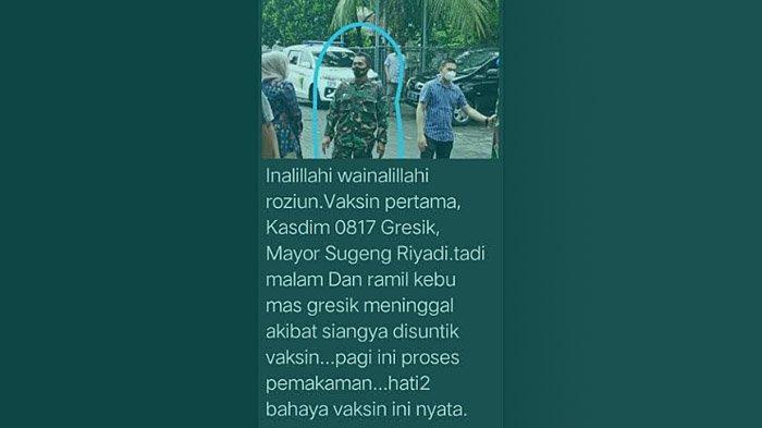 Tangkapan layar pesan berantai yang beredar di WhatsApp mengabarkan Kasdim 0817/Gresik, Mayor Inf Sugeng Riyadi meninggal dunia usai disuntik vaksin Sinovac.
