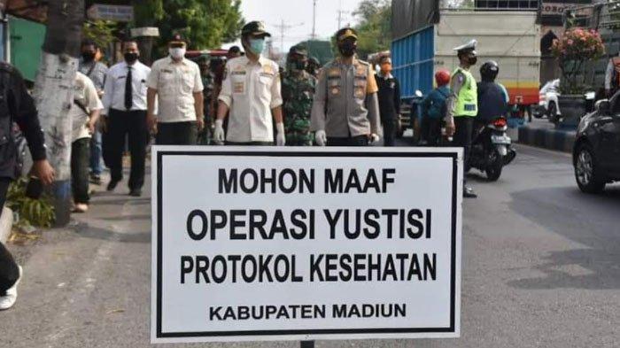 Warga Kediri Terjaring Operasi Yustisi di Kabupaten Madiun, Sang Anak Tak Pakai Masker
