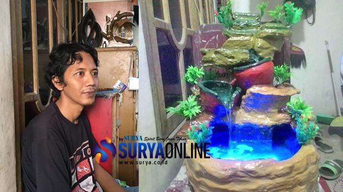 Begini Awal Mula Perajin Asal Tambaksari Surabaya Ini Bikin Miniatur Air Terjun Limbah Styrofoam