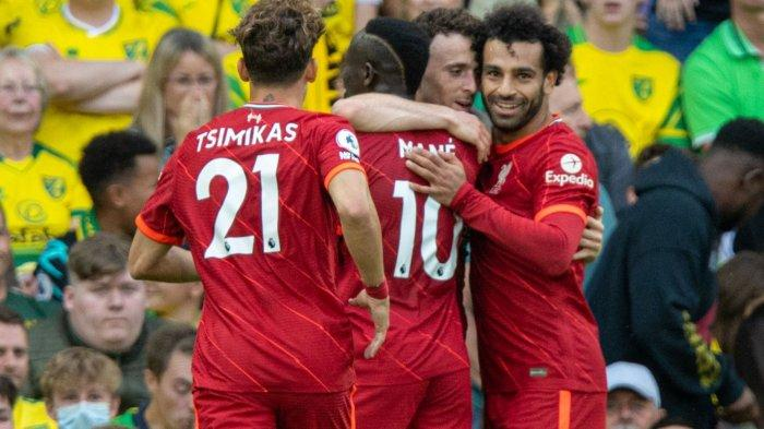 Mo Salah saat merayakan kemenangan pertama di Laga perdana Liga Inggris