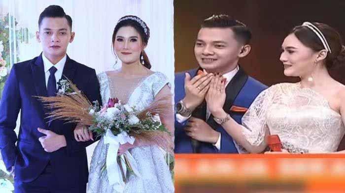 Nella Kharisma dan Dory Harsa pemberkatan pernikahand an pamer cincin kawin.