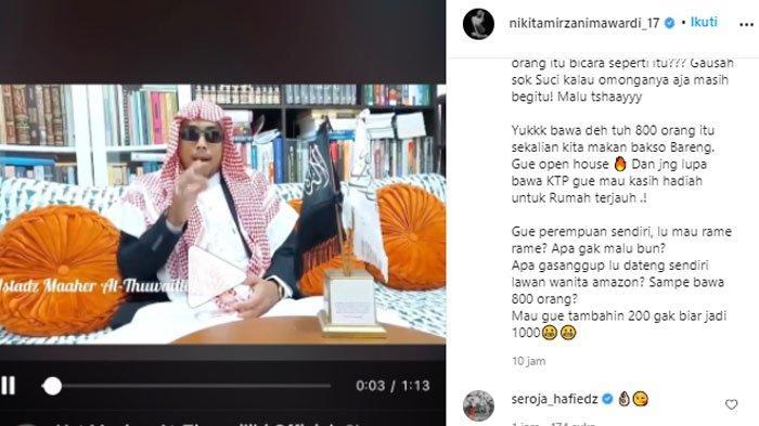Nikita Mirzani mengunggah vidkeo Ustaz Maaher yang mengancamnya.