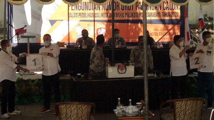 Ini Dia Hasil Pengundian Nomor Urut Paslon dalam Pilwali Surabaya 2020