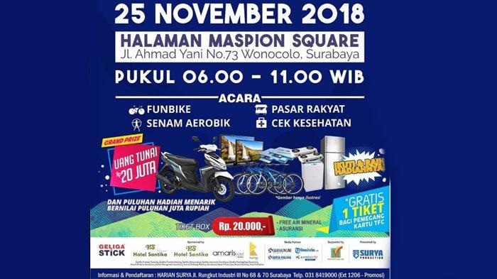 Daftar Ticket Box Pahlawan Fun Bike Surabaya 25 November 2018, Berhadiah Uang Tunai Rp 20 Juta