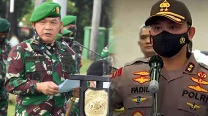 Pangdam Jaya Mayjen Dudung Abdurachman dan Kapolda Metro Jaya Irjen Fadil Imran. Kapolda Metro Jaya mendukung upaya Pangdam Jaya memerintahkan prajurit TNI copoti baliho Habib Rizieq.