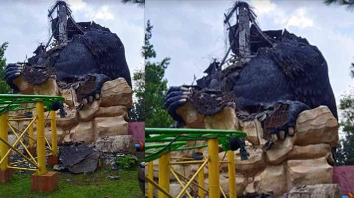 Patung Gorila Raksasa dari Beton di Jatim Park 2 Rontok Digoncang Gempa Bumi 6,7 SR di Malang