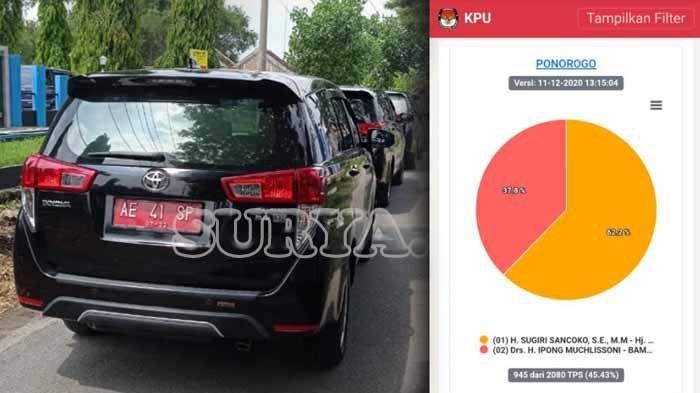 Mobil Pejabat Pemkab Ponorogo Terjajar di jalan tempat Kediaman Cawabup Ponorogo, Lisdyarita