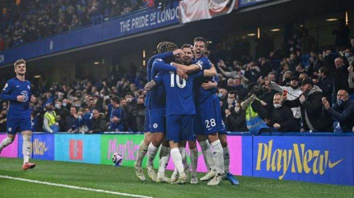 Foto: Pemain Chelsea saat merayakan gol melawan Leicester City