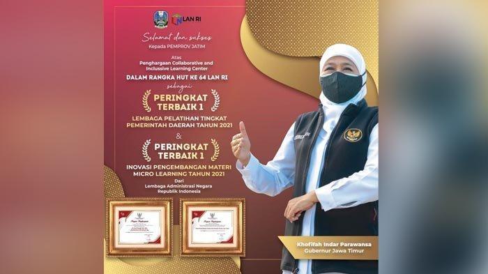Pemprov Jatim Raih Dua Penghargaan Terbaik Pertama dari Lembaga Administrasi Negara RI