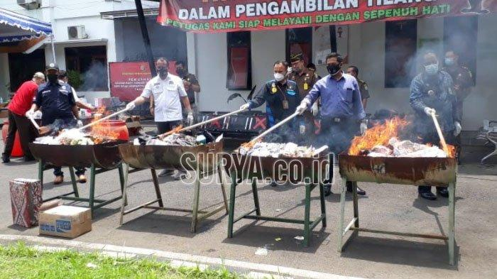 Pemusnahan Barang Bukti Kejahatan di Kejaksaan Negeri Kabupaten Malang, Paling Banyak Narkoba