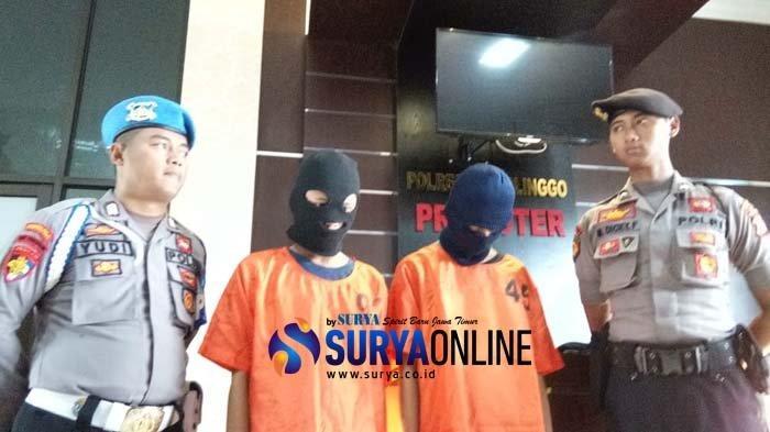 Satreskrim Polres Probolinggo menangkap dua Anak Baru Gede (ABG) atas kasus dugaan pencabulan. Mereka adalah MMH (18) dan MWS (13)  (Surya/ Galih Lintartika )