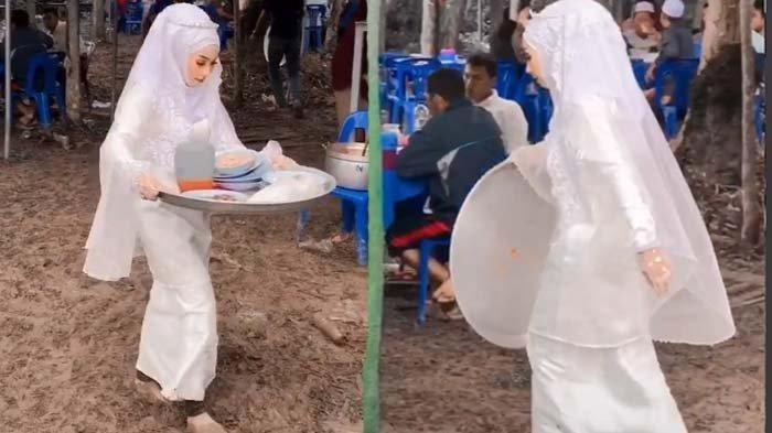 Aksi Pengantin Wanita Angkut Tumpukan Piring Kotor Viral di TikTok, Rela Becek-becekan hingga Nyeker