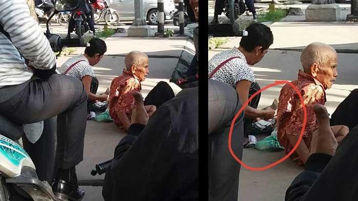 Duh! Bapak Tua Mengemis di Jalan, Perempuan Mengaku Anaknya ini Malah Asyik Hitung Uangnya