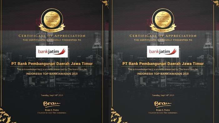Bank Jatim kembali Raih Penghargaan di Ajang Indonesia Top Bank Awards 2021