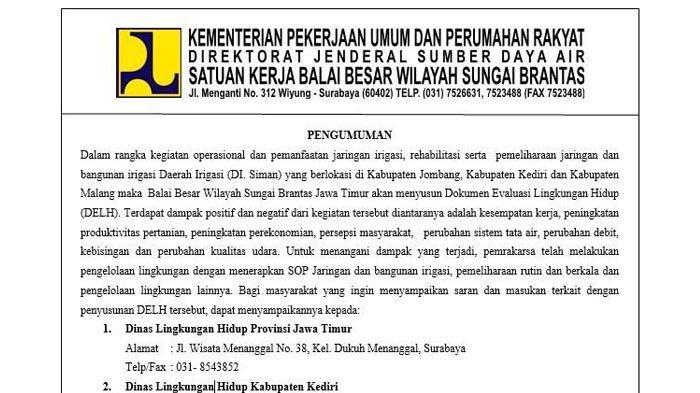 Pengumuman Balai Besar Wilayah Sungai Brantas Jawa Timur