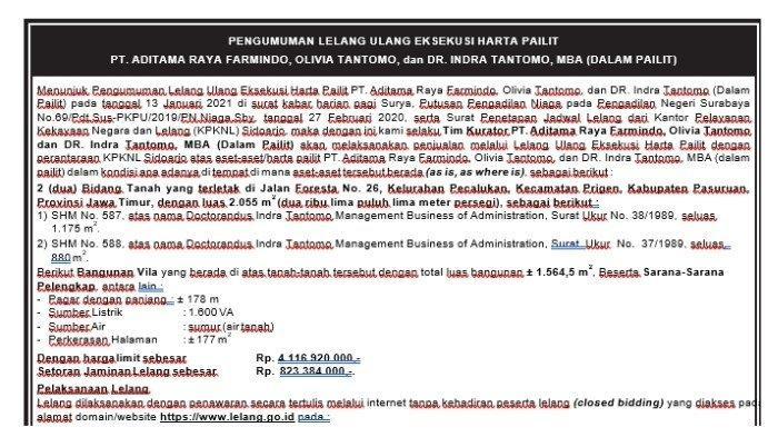 Pengumuman Lelang Ulang Eksekusi Harta Pailit PT Aditama Raya Farmindo di Pasuruan