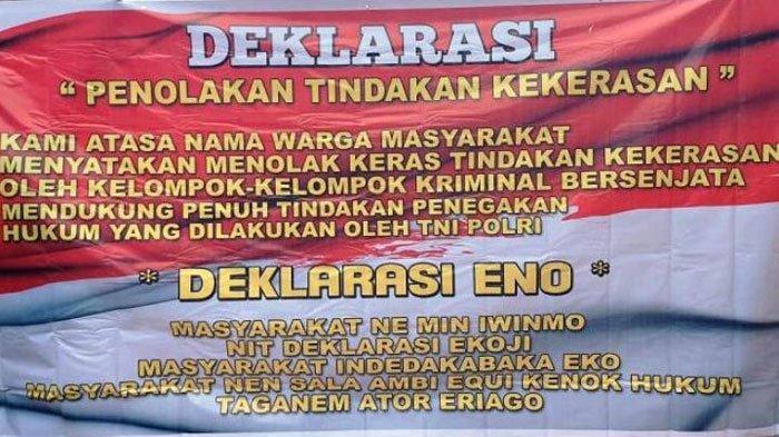 Spanduk warga Tembagapura yang menolak KKB Papua. Penolakan Warga Terhadap KKB Papua Semakin Bertambah
