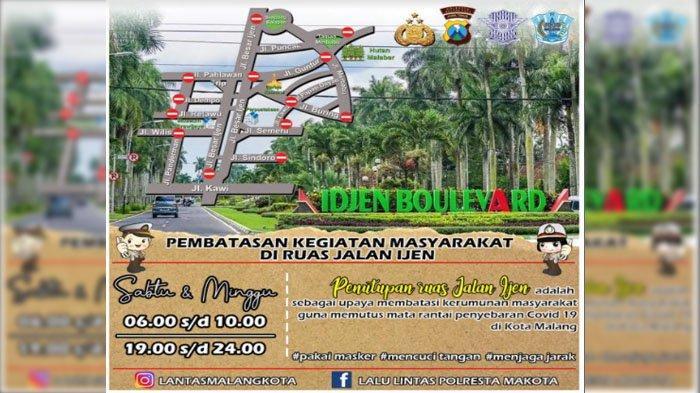Hari Ini, Ruas Jalan Ijen Kota Malang Ditutup untuk Putus Penyebaran Covid-19