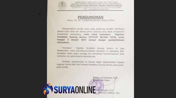 Penyebab Gunung Semeru Ditutup Per 3 Januari 2019 hingga Batas Waktu Belum Ditentukan