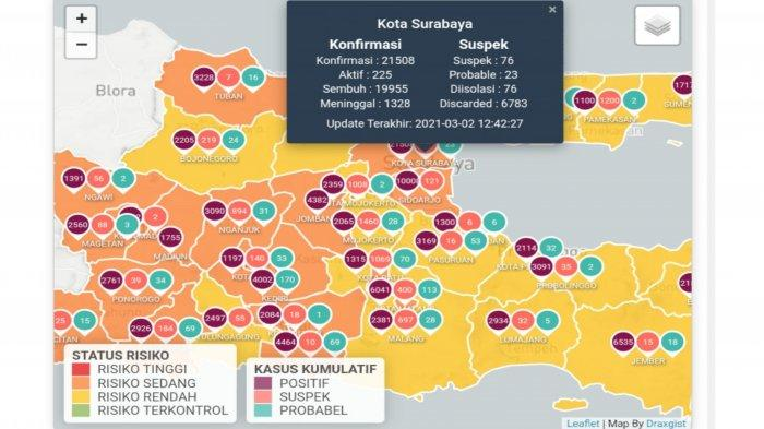 Update Virus Corona di Surabaya 3 Maret 2021 Tambah 48, Hasil PPKM Mikro 16 Daerah Zona Kuning