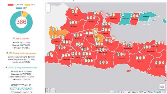 Update Virus Corona di Surabaya & Jatim Hari ini 12 April 2020, Positif Covid-19 Melonjak 386 Kasus