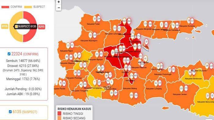 Update Virus Corona di Surabaya dan Jatim 2 Agustus: Pasien Sembuh 5381, Covid-19 Naik Jadi 8756