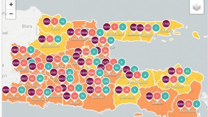 Peta sebaran virus corona di Jatim Kamis (29/4/2021)