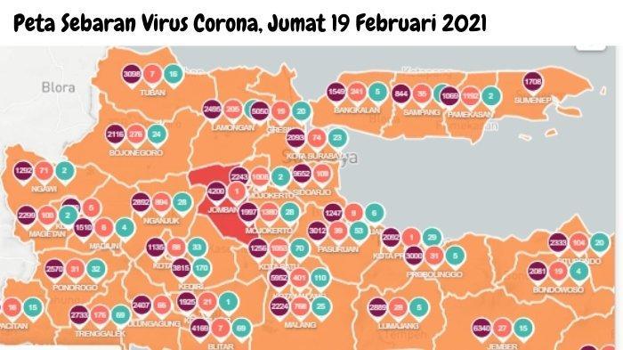 peta sebaran virus corona di Surabaya dan Jawa Timur, Jumat 19 Februari