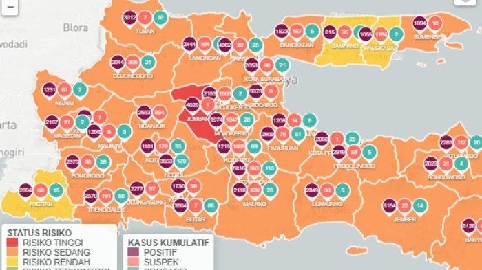 peta sebaran virus corona di Surabaya, Kamis (11/2/2021)