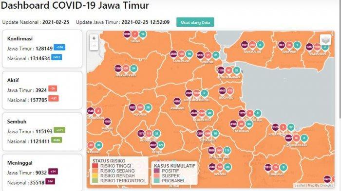 Update Virus Corona di Surabaya Kamis 25 Februari: Tambah 61, PPKM Mikro Jatim Efektif Zona Merah 0
