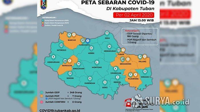 UPDATE Corona di Tuban: Tambah 17 Kasus dari 3 Klaster, Jumlah Total Pasien Positif Capai 85 Orang