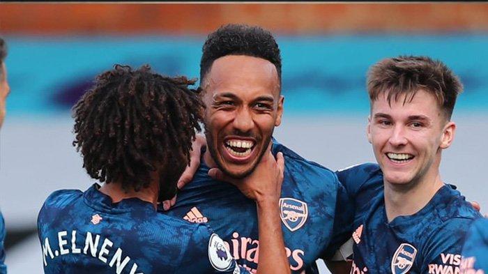 Aubameyang saat merayakan golnya