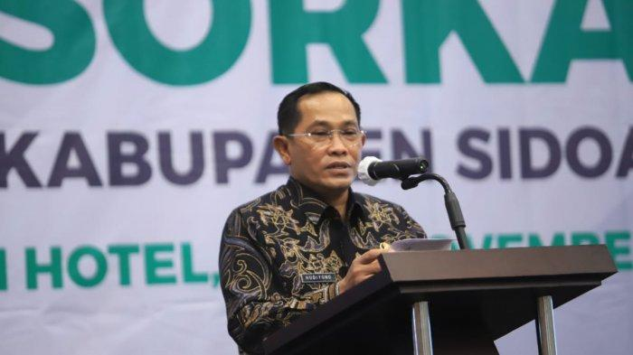 Pj Bupati Sidoarjo Hudiyono saat hadir dalamMusyawarah olahraga kabupaten (Musorkab) KONI Kabupaten Sidoarjo