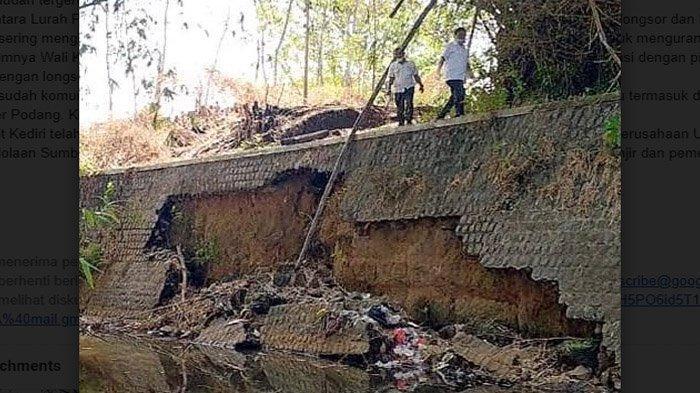 PUPR Kota Kediri Akan Perkuat Plengsengan Sungai Ngemplak, Sebelum Diperbaiki BBWS Brantas