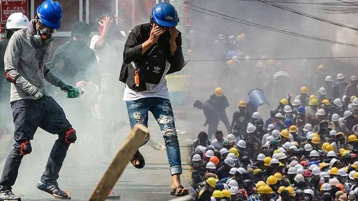 Ratusan Polisi Membelot Lawan Junta Militer Myanmar, Komandannya Bingung, Pilih Gabung Demonstran