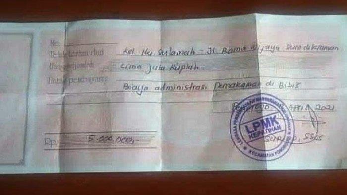 Unggahan foto kuitansi pembayaran makam Rp 5 juta yang viral di media sosial